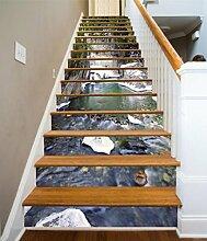 """3D Tal Fluss 7 Stair Risers Dekoration Fototapete Vinyl Aufkleber Tapete DE Carly (15x H:18cm x W:94cm (7""""x37""""))"""