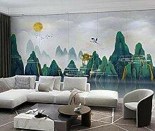 3D Tapete Abstrakte Goldene Landschaftslandschaft