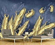 3D Tapete Abstrakte Schöne Goldene Feder