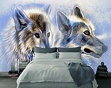 3D Tapete Abstrakte Wolf Vintage Ölgemälde