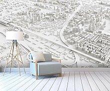 3D Tapete Abstrakter Weißer Stadtplan Fototapete