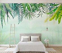 3D Tapete Aquarellgrün Lässt Kaktus