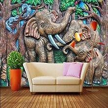 3D-Tapete Baby Tapete Cartoon Elefant Wandbild