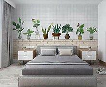 3D Tapete Backsteinmauer Mit Grünen Topfpflanzen