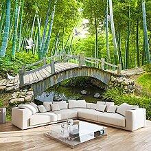 3D Tapete Bambuswald Holzbrücke 3D Wandbilder