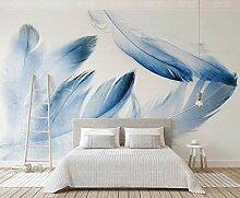 3D Tapete Blaue Federn Einfach Und Schön