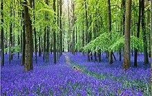 3D Tapete Blauer Lavendelgrünwald Fototapete
