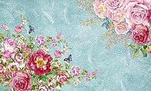 3D Tapete Blume Rosa Schmetterling Blau Fototapete