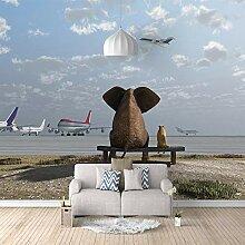3D Tapete Elefantenkatze 3D Wandbilder Für