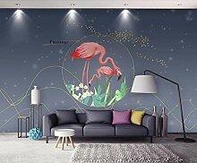 3D Tapete Flamingo Mit Goldener Linie Fototapete