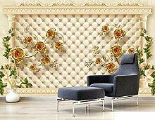 3D Tapete Fototapete Goldene Blume Verlässt