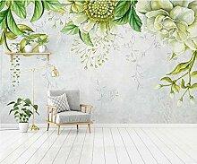 3D Tapete Fototapete Grün Lässt Einfache Blüten