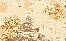 3D Tapete Fototapete Retro Eiffelturmblume Beige