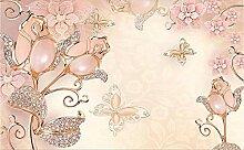 3D Tapete Fototapete Schmetterlingsblume Rosa