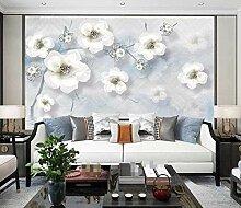 3D Tapete Fototapete Weiße Blumen Modern Retro