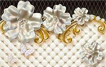3D Tapete Fototapete Weiße Blumen Schmetterling