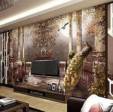 3D-Tapete Für Wände Pfau Wandbild Rokoko-Stil