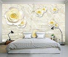 3D Tapete Geprägte Gelbe Blumen Vintage