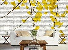 3D Tapete Ginkgobaum Mit Weißer Backsteinmauer