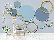 3D Tapete Goldener Geometrischer Blauer Kreis