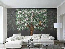 3D Tapete Graugrüner Baum Minimalistisch