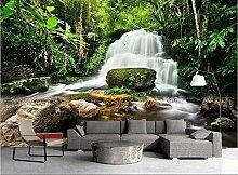 3D Tapete Grüne Waldwasserwasserfallsteine