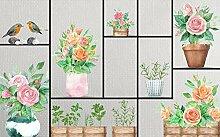 3D Tapete Grüner Vogel Der Blumenpflanze