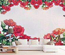 3D Tapete Hand Gezeichnete Rote Rose Vintage