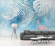 3D Tapete Handbemalte Blaue Tropische Pflanze