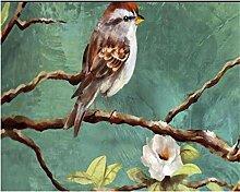 3D-Tapete handgemalt Gemälde Blumen Vögel