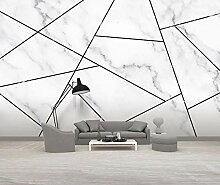 3D Tapete Jazz White Geometric Marble Einfach
