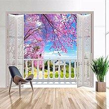 3D-Tapete, Kunstfenster, romantische Kirschblüte,