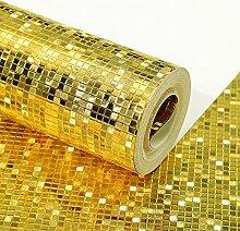 3d Tapete leuchtendes Goldfoliengittermosaik