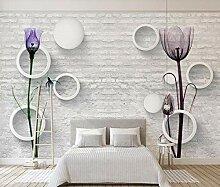 3D Tapete Lila Tulpen Gegen Weiße Backsteinmauer