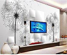 3d tapete löwenzahn tv wohnzimmer hintergrund