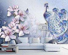 3D-Tapete mit 3D-Prägung Pfau Magnolie, 140 x 100