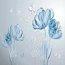 3D-Tapete mit blauem Blumen-Motiv, 3D-Effekt, für