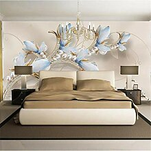 3D Tapete Moderne Blaue Blume Vliestapete 3D