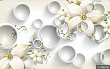 3D Tapete Musterkreis Pflanze Weiß Fototapete 3D