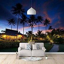 3D Tapete Nacht Kokosnussbaum 3D Wandbilder Für