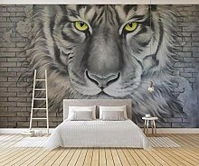 3D Tapete Relief Tiger Tiger Backsteinmauer Retro