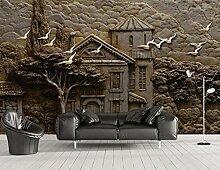 3D Tapete Reliefwaldhütte Großer Baum Fliegende