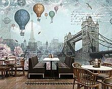 3D-Tapete Retro Britische Heißluftballonwand