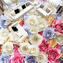3d tapete romantische rose blumen bodenfliese