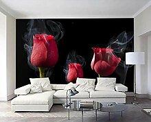 3D Tapete Romantischer Rauch Mit Roten Rosen
