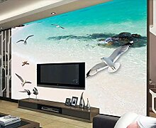 3D Tapete Romantischer Und Schöner Strand Am Meer