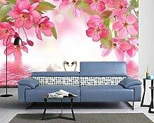 3D Tapete Rosa Blumen Schwan See Traum Fototapete