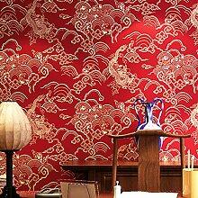 3d Tapete rot Drachenmuster Hochzeitszimmer