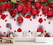 3D Tapete Roter Rosenblumentraum Fototapete 3D