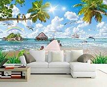 3D Tapete Seestückmalerei Kokosnussbaum